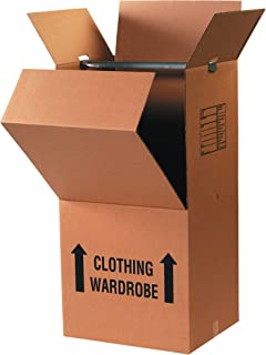 "BOX USA BWARDCOMBOMS Pre-Printed Wardrobe Moving Boxes, 20"" L x 20"" W x 45"" H, Kraft (Pack of 3)"