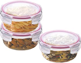 Kaiserhoff FlexiKitchen Round Glass Storage Container Set, 400ml, Set of 3, Transparent