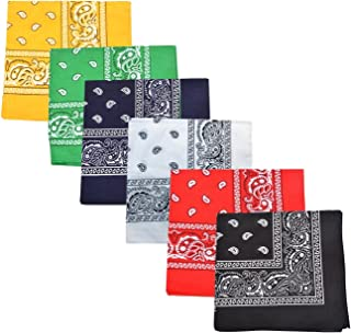 Pack of 3 X Large 100% Polyester Non Fading Paisley Bandanas 27 x 27 In - Great For Party and Decoration