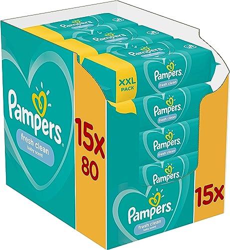 Pampers Lingettes Fresh Clean, Au Parfum Rafraîchissant et Testées Dermatologiquement, Lot de 15x80 Lingettes (Total ...