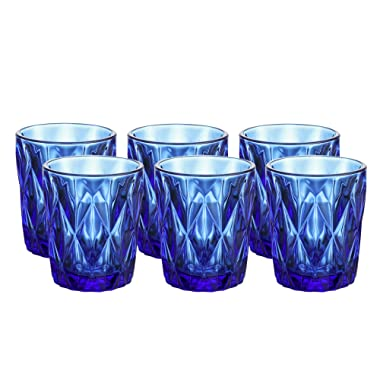 Colored Glass Drinkware 9 Ounce Water Glasses Cobalt Blue Diamond Pattern Set of 6