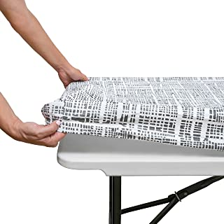 Tablecloth for Folding Table -Fitted Rectangular Table Cloth for 6 Foot – Size 32 x 72 inch - (180 x 75 cm) Plastic Vinyl ...