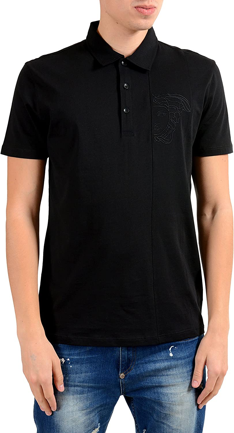 Versace Collection Men's Black Short Sleeve Polo Shirt US S IT 48;