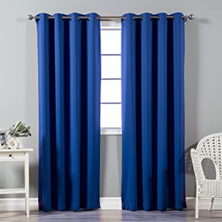 Best Home Fashion Premium Thermal Insulated Blackout Curtains - Antique Bronze Grommet Top - Royal Blue - 52