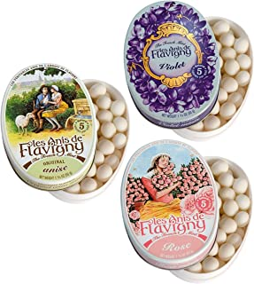 Les Anis de Flavigny The French Mint Mints Hard Candy Variety Pack — Original Anise, Violet and Rose Flavors — Aniseed Bre...