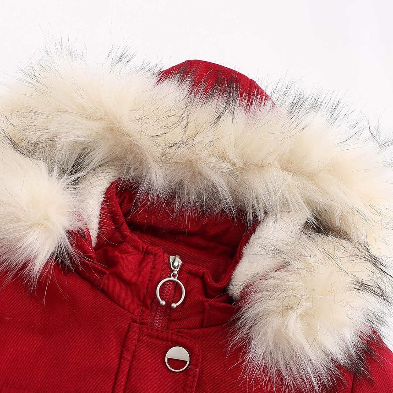 Zegeey Damen Winter mittellang Abnehmbarer Kapuzenpelzkragen Warmer Mantel und Baumwollmantel Rot