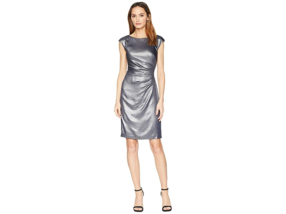 LAUREN Ralph Lauren Galaxy Foil Becca Cap Sleeve Day Dress (Lighthouse Navy/Silver Foil) Women