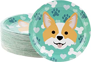 Disposable Plates - 80-Count Paper Plates, Dog Party Supplies for Appetizer, Lunch, Dinner, and Dessert, Corgi, 9 x 9 inches