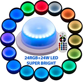 Under Table 16 Colors Change Wedding Decoration Lights, For Parties, Events, Birthdays With 24 RGB+24W LED, Super Bright, 4400 mAh Rechargable Lithium Battery. No Cables,Remote Control (Multi-colored)