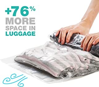 Minty Home Travel Space Saver Bags - Travel Vacuum Storage Bags - No Vacuum or Pump Needed - Roll Up Compression Storage Bags for Travel(4 Large + 4 Medium) Camping Hiking Accessorys