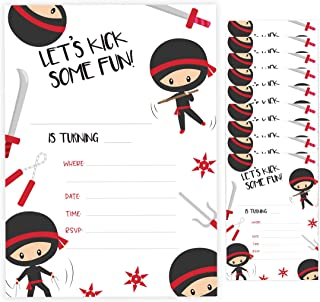 Ninja Boy Style 3 Happy Birthday Invitations Invite Cards (10 Count) With Envelopes Boys Girls Kids Party (10ct)