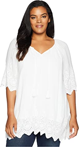 Plus Size Embroidered Border Peasant Top