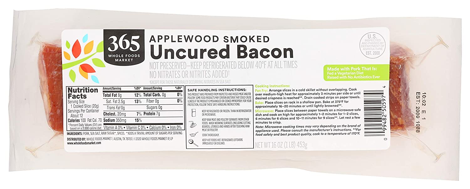 2021 365 by WFM Pork Bacon Applewood Thick Cheap mail order shopping Uncured 16 Ounce Smoked