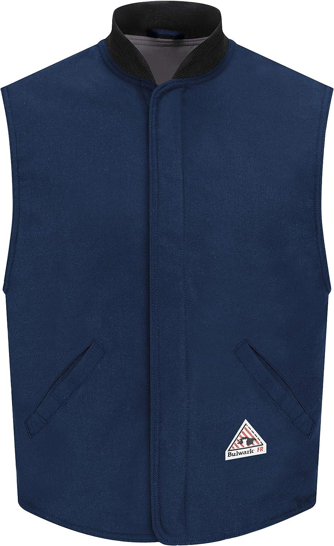 Bulwark Men's Flame Resistant 4.5 Oz Nomex IIIA Vest Jacket Liner with Rib-Knit Collar, Navy
