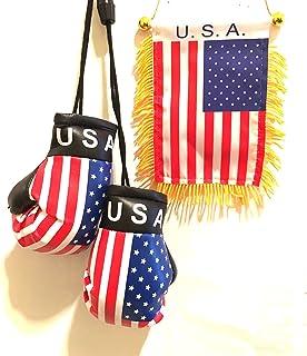 American Mini Automobile Flag 2pc USA pride pack Rearview mirror auto USA flag and Mini Boxing Glove auto Summer Care 2pc ...