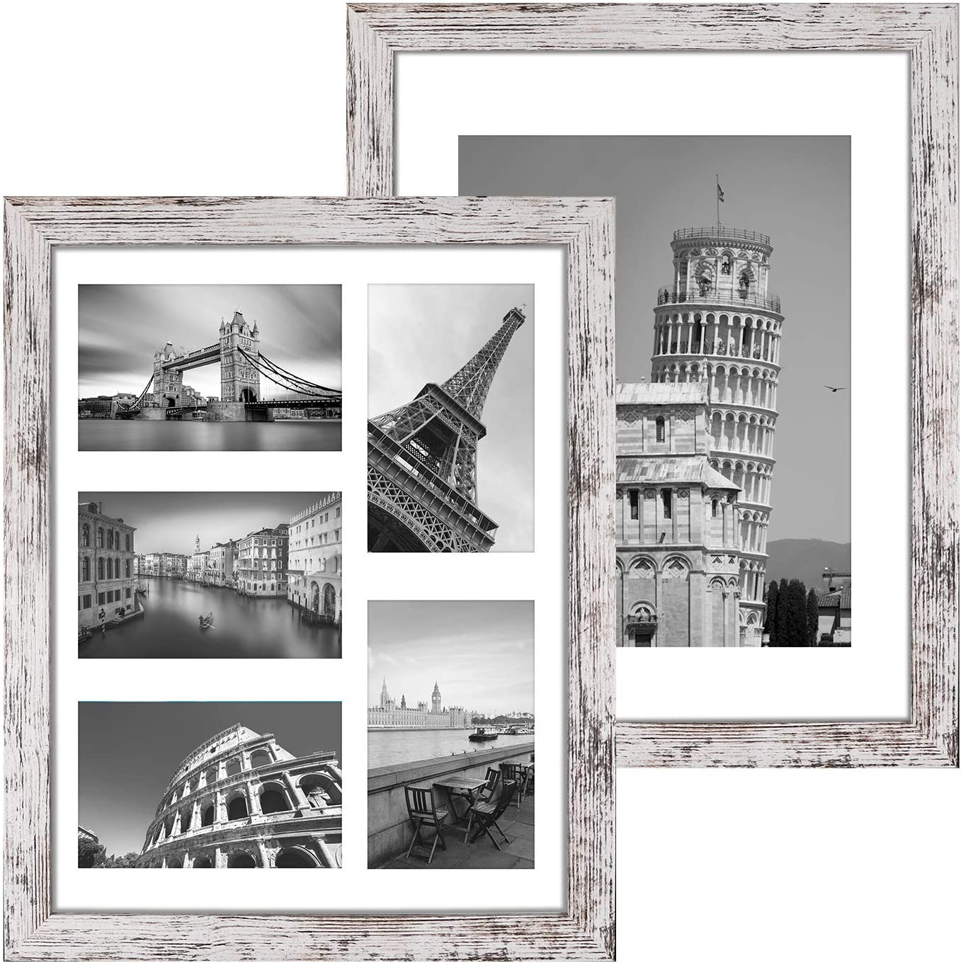 Q.Hou 11x14 Picture Frames Wood Patten Set White Distressed Finally popular brand of New products world's highest quality popular 2