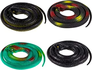 Whaline 4 Pieces Realistic Rubber Snakes, Fake Snakes Green Black Snake Toys for Garden Props to Scare Birds, Squirrels, Mice, Pranks, Halloween Party Decoration (31.5 Inch)