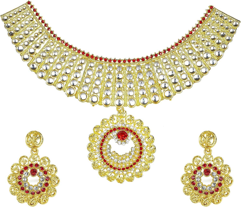 Bodha Traditional Indian Gold Plated Kundan CZ Zircon Austrian Crystal Bridal Choker Jewellery Necklace Set with Earrings for Women (SJ_2809)
