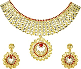 Traditional Indian Gold Plated Kundan CZ Zircon Austrian Crystal Bridal Choker Jewellery Necklace Set with Earrings for Women (SJ_2809)