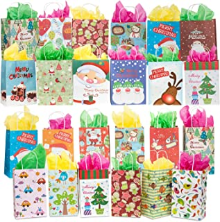 AMASKY Christmas Gift Bags,24 Pieces White Kraft Holiday Gift Wrap Bag with Wrapping Paper Santa Claus Christmas Socks Hat Snowflakes Merry Christmas Design.
