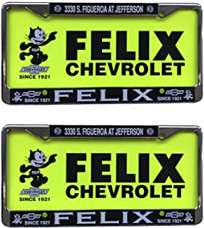 Felix Chevrolet Retro Plastic License Plate Set of 2 Frames and Inserts