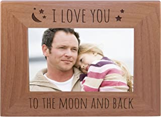 CustomGiftsNow I Love You to The Moon and Back - Wood Picture Frame Holds 4x6 Inch Photo - Great Gift for Mothers's, Father's Day, Birthday,Valentines Day, Anniversary