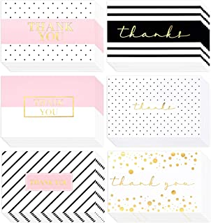 60 Pack Thank You Cards- Elegant Gold Foil Thank You Cards - Thank You Greeting Cards Embossed In Fancy Gold Letters - Baby Shower, Bridal, Wedding Thank You Cards- Include 60 Envelopes- 4 x 6 inches