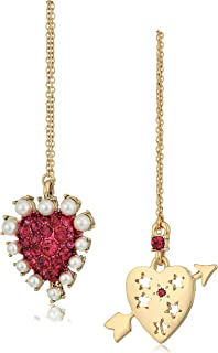 Betsey Johnson Womens Fuchsia and Gold Heart Non-Matching Earrings