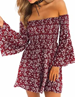 Sexyshine Women's Off Shoulder Floral Print Bell Sleeve Loose Mini Dress