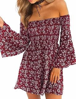 Sexyshine Women's Off Shoulder Floral Print Bell Sleeve Loose Mini Dress