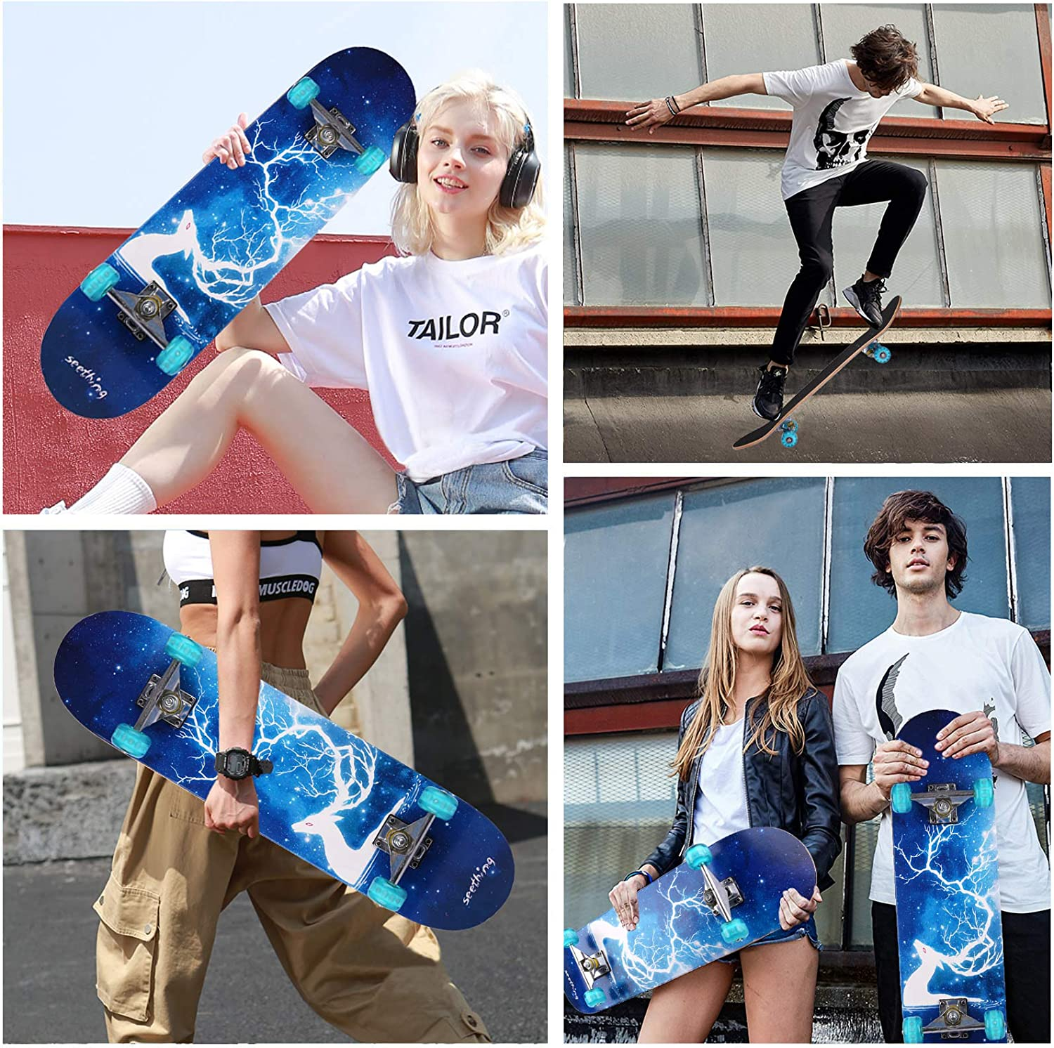 31x8 Complete Skateboards,7 Layer Canadian Maple Double Kick Deck Concave Standard Skate Boards Skateboard for Girls Boys Youths Beginners Wemfg Skateboard for Kids Adults Teens