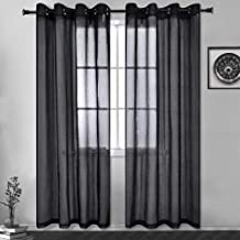 "HUTO Window Sheer Black Curtain for Bedroom 84 inch Long - Eyelet Top Linen Look Sheer Panels Draperies for Living Room,2 Pieces 52""x84"""
