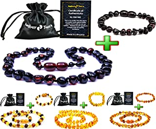 Baltic Amber Teething Necklace + Bracelet (Unisex) - Anti Flammatory, Drooling & Teething Pain Reduce Properties - Certificated Natural Baltic Amber with The Highest Quality.