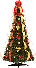 BrylaneHome Flat-to-Fabulous Fully Decorated, Pre-Lit 6-Ft. Christmas Tree - Red Gold