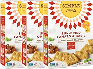 Simple Mills Almond Flour Crackers, Sundried Tomato & Basil, 4.25 Ounce (Pack of 3)