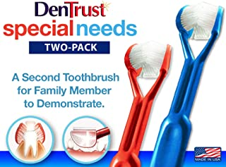 2 Pack DenTrust 3-sided Toothbrush: Fun, Fast and Complete.