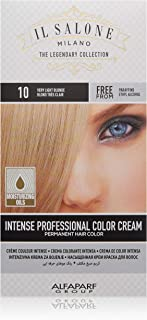Il Salone Milano Professional Permanent Hair Color Kit - 10 Very Light Blonde - 100% Gray Coverage Hair Dye - Paraffin Free - Ethyl Alcohol Free - Moisturizing Oils