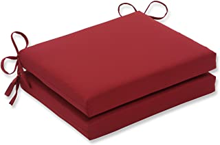 Pillow Perfect Indoor/Outdoor Red Solid Seat Cushion Squared, 2-Pack
