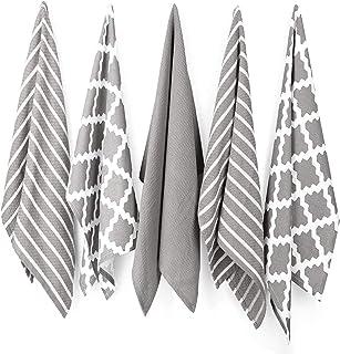 Penguin Home - 100% Cotton Tea Towel Set of 5 - Soft - Durable - Stylish Grey Design with Multiple Patterns - Machine Wash...