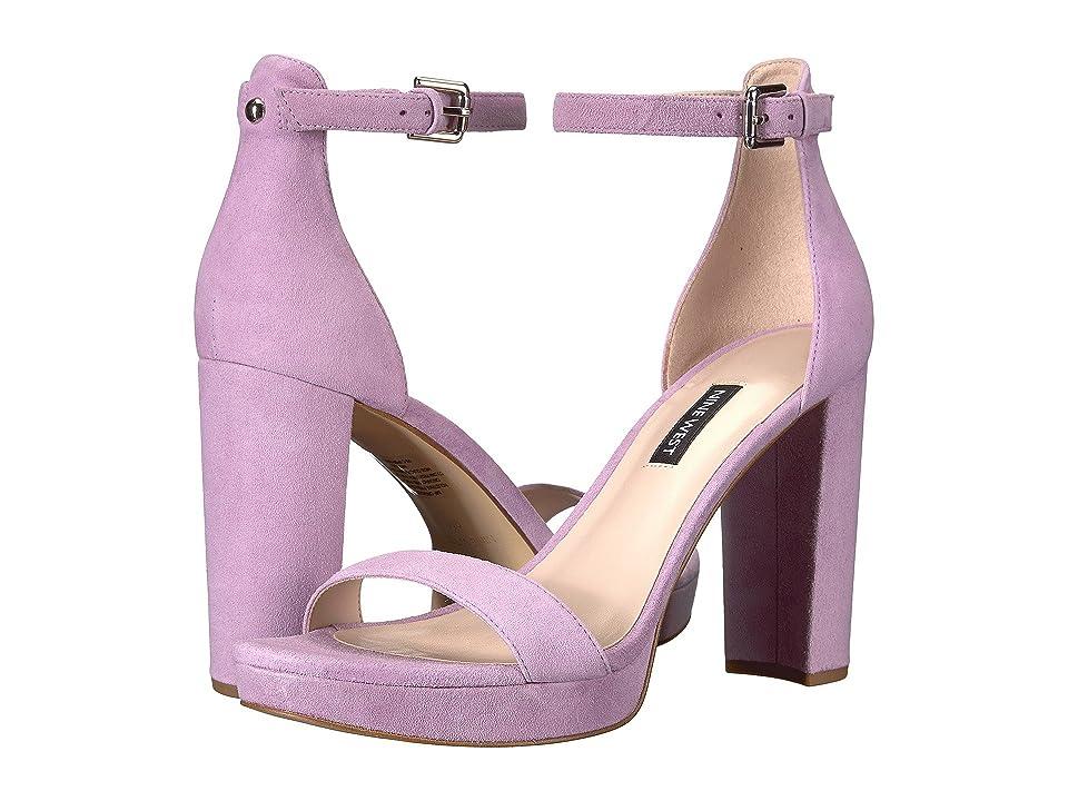 Nine West Dempsey Platform Heel Sandal (Light Purple Suede) Women