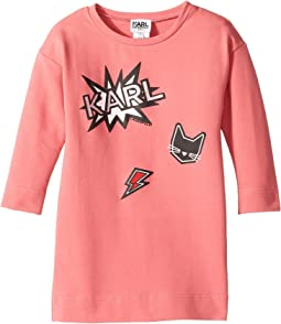 Karl Lagerfeld Kids - Long Sleeve Sweatdress with Printed Graphics (Toddler)