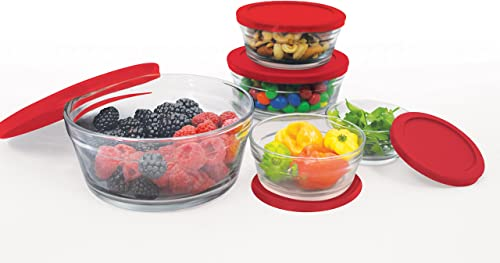 high quality Farberware new arrival 10 Piece Glass Food Storage Bowl Set with Airtight online sale Lids, Red outlet sale
