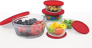Farberware 10 Piece Glass Food Storage Bowl Set with Airtight Lids, Red