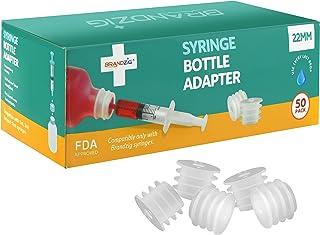 Medicine Bottle Syringe Adapter for Oral Dispensers (22mm, 50 Pack) | Press in Bottle Adapter for Liquid Medication | Only...