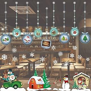 Lakatay Christmas Window Clings Snowflake Decorations - Winter Wonderland Xmas Party Supplies - Santa Claus Elf Reindeer Peeking Decals
