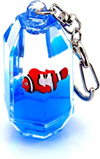Creationtop Liquid Keychain Fashionable Glitter Powder Moving Floating Keychain (Fish #2)