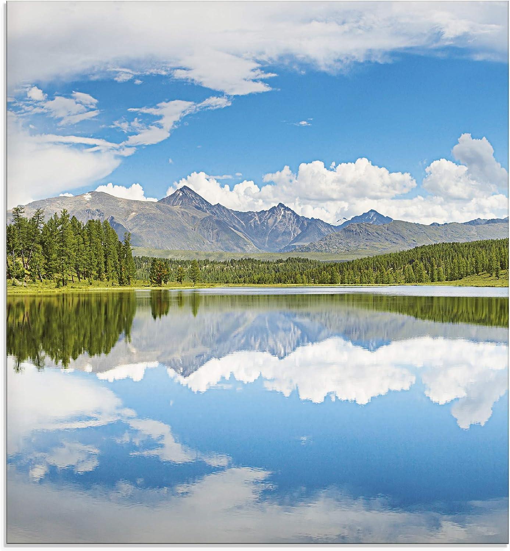 Artland K/üchenr/ückwand Glas mit Motiv Spritzschutz 60x50 cm Alpen Landschaft Berge See Bergsee Himmel Sommer Natur Wald Blau T9QB