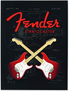Open Road Brands Fender Stratocaster Double Guitars Framed Wood Wall Décor - Large 18 Inch x 24 Inch Size for Music Room, Man Cave or Bedroom