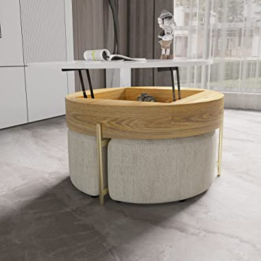 MGH Round Coffee Table,Lift-Top Wood Coffee Table Lifts up with Storage & Stools for Living Room, Office, Balcony (White)