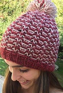 Gorro de lana con pompón, hecho a mano, para la chica o mujer, bicolor, talla M